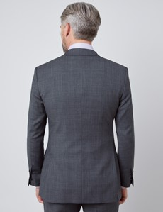 Men's Charcoal & Blue Prince Of Wales Plaid Slim Fit Suit