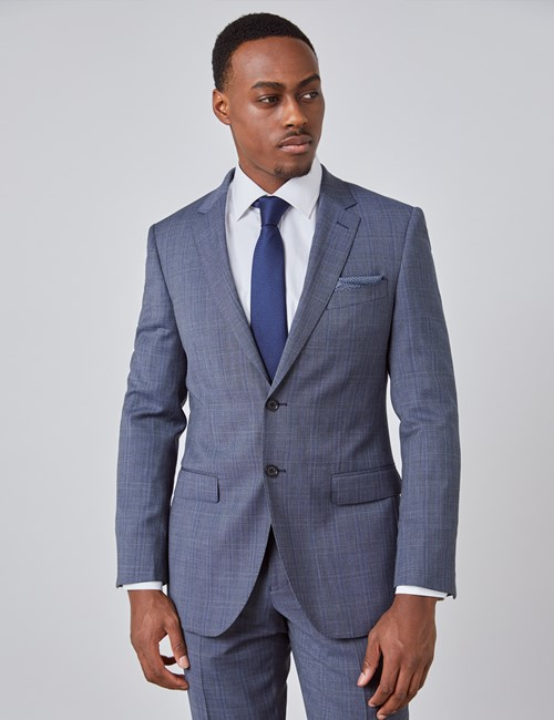 Men's Blue Tonal Check Slim Fit Suit Jacket