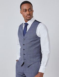 Men's Blue Tonal Check Slim Fit Suit