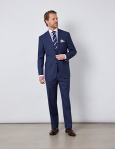Men's Blue & Red Prince Of Wales Check Classic Fit Suit Jacket