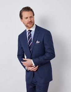 Men's Blue & Red Prince Of Wales Check Classic Fit Suit