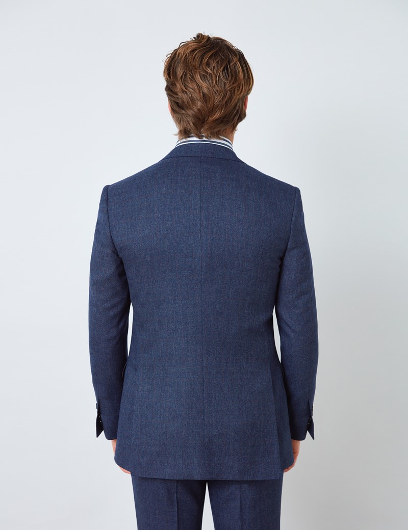 Men's Blue & Red Prince of Wales Check Slim Fit Suit Jacket