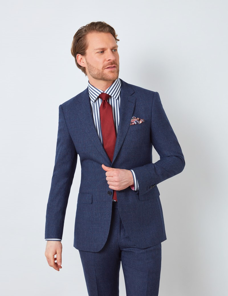Men's Blue & Red Prince of Wales Check Slim Fit Suit