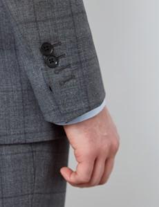 Men's Grey Tonal Check Slim Fit Suit Jacket