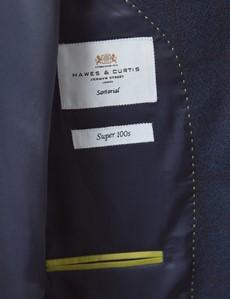 Men's Navy & Brown Check Slim Fit Suit Jacket