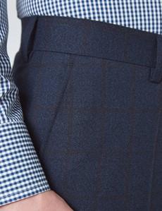 Men's Navy & Brown Check Slim Fit Suit