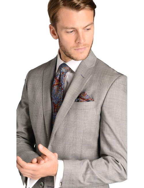 Men's Grey Prince of Wales Check Slim Fit Suit Jacket - 1913 Collection
