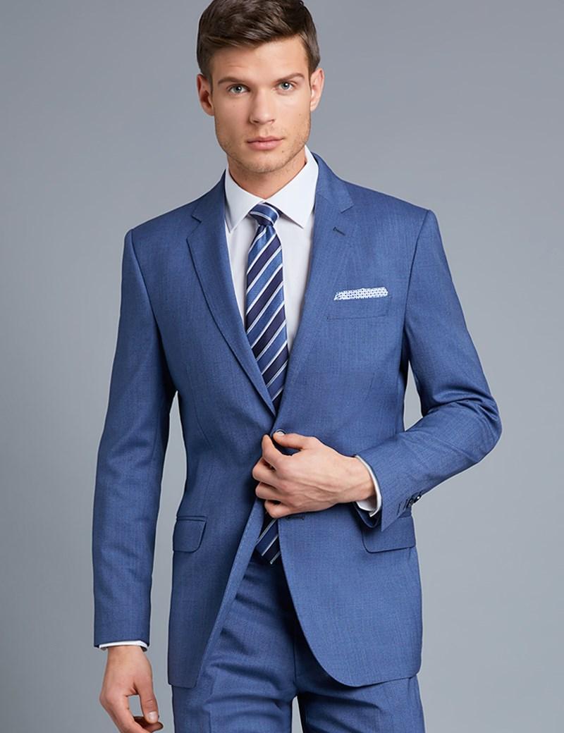 Men's Blue Pique Tailored Fit Italian Suit Jacket– 1913 Collection
