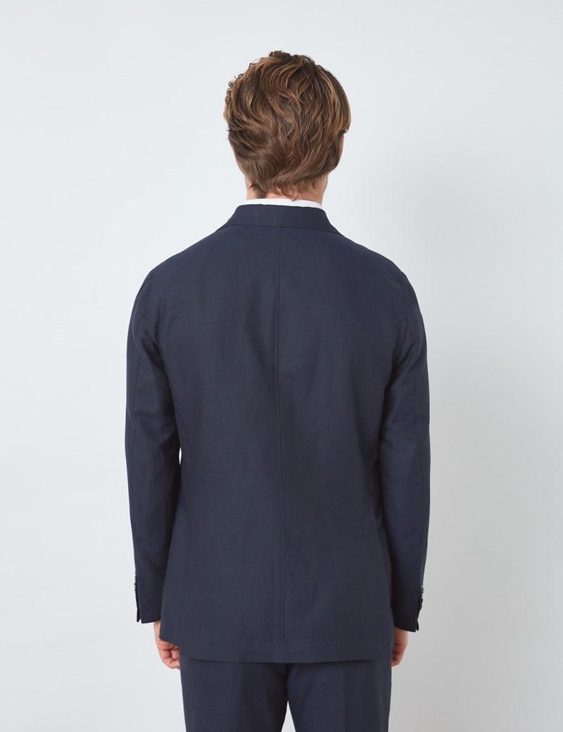 Men's Navy Italian Cotton Linen Slim Fit Suit Jacket - 1913 Collection