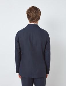 Men's Navy Italian Cotton Linen Slim Fit Suit - 1913 Collection