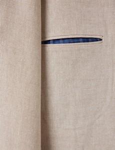 Einreiher Sakko – Leinen-Baumwolle Mix – 1913 Kollektion – Slim Fit – Taupe