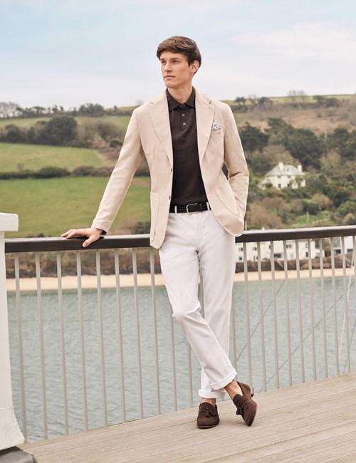 Men's Stone Italian Cotton Linen Slim Fit Suit Jacket - 1913 Collection
