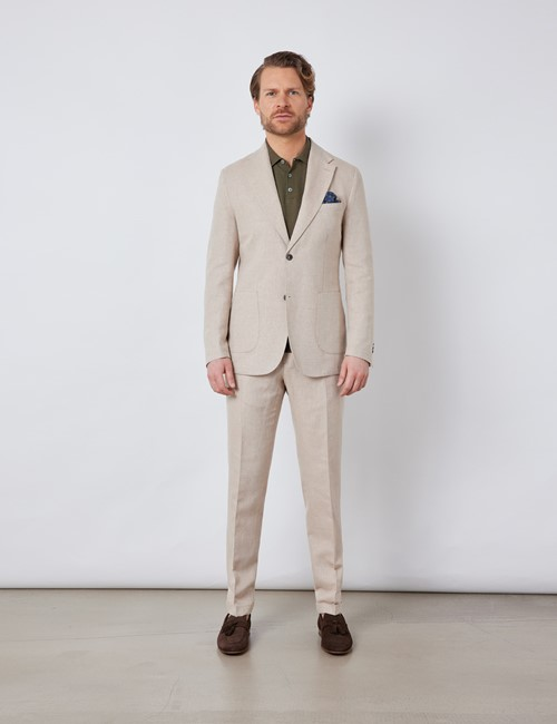 Men's Stone Italian Cotton Linen Slim Fit Suit - 1913 Collection