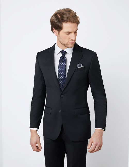 Men's Black Tailored Fit Italian Suit Jacket - 1913 Collection