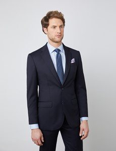 Men's Navy Tailored Fit Italian Suit Jacket - 1913 Collection