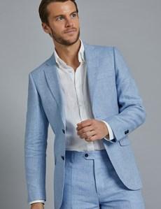 Men's Light Blue Herringbone Linen Tailored Fit Italian Suit Jacket- 1913 Collection
