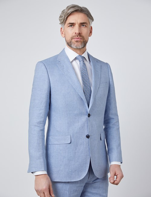 Men's Light Blue Herringbone Linen Tailored Fit Italian Suit Jacket- 1913 Collection