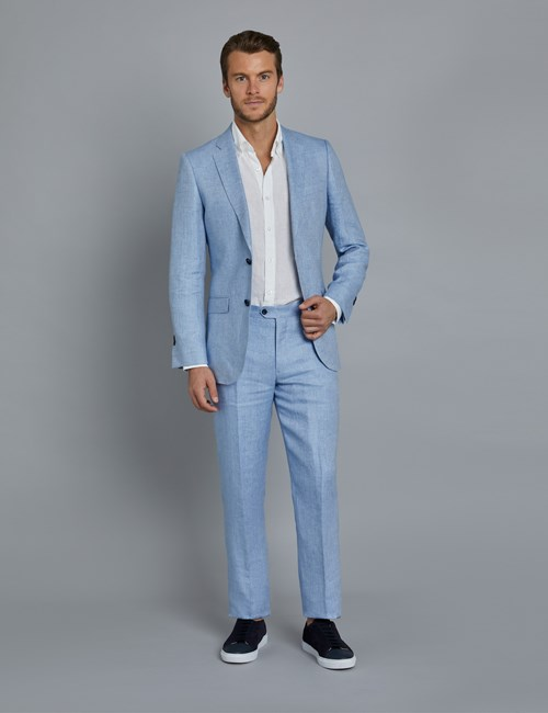 67f7f1ca9a94 Men's Light Blue Herringbone Linen Tailored Fit Italian Suit - 1913  Collection ...