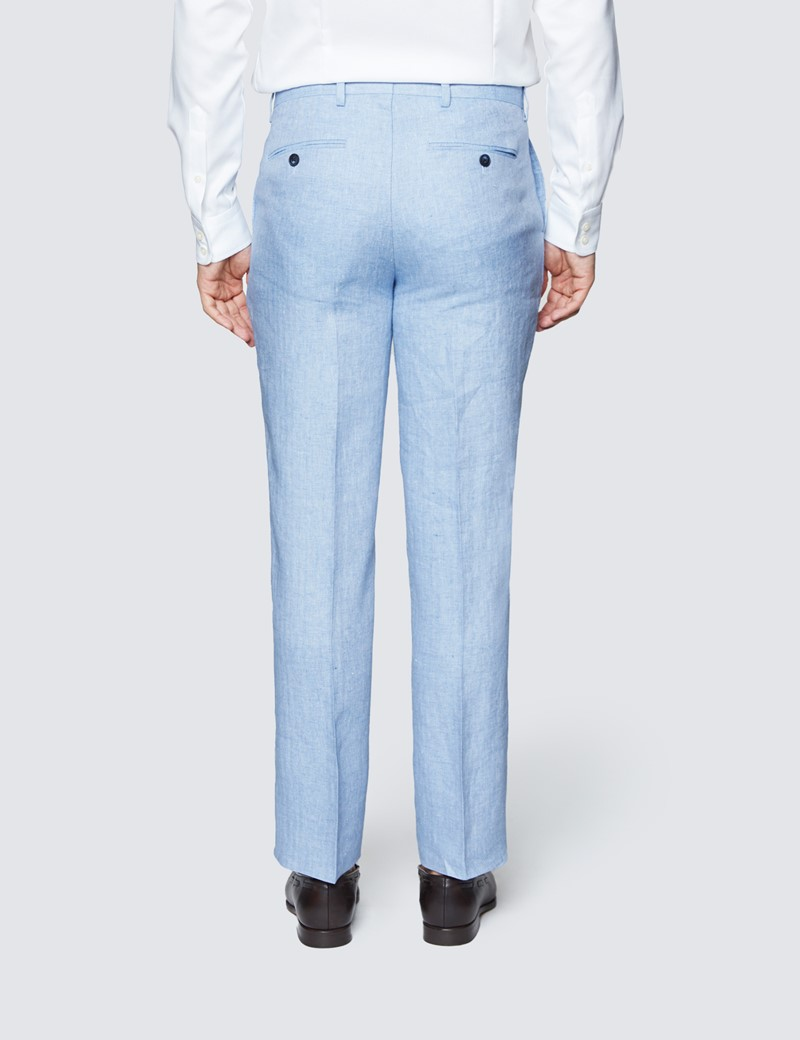 Men's Light Blue Herringbone Linen Tailored Fit Italian Suit - 1913 Collection