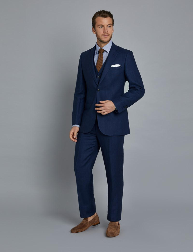 Men's Royal Blue Herringbone Linen Tailored Fit Italian Suit Jacket - 1913 Collection