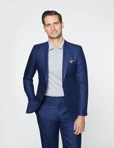 Men's Royal Blue Herringbone Linen Tailored Fit Italian Suit Jacket - 1913 Collection