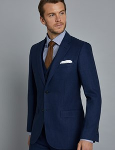 Men's Royal Blue Herringbone Linen Tailored Fit Italian Suit - 1913 Collection