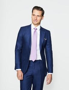 Men's Royal Blue Herringbone Linen Tailored Fit Italian Suit - 1913 Collection