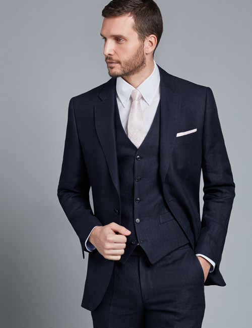 Men's Navy Herringbone Tailored Fit Linen Italian Suit Jacket - 1913 Collection
