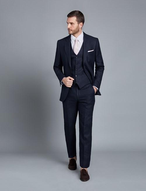 1913 Kollektion – Anzug aus edlem Leinen – Tailored Fit – Fischgrat marineblau