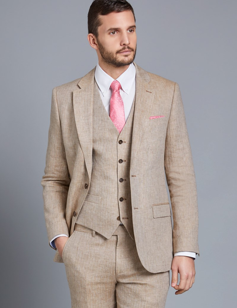 Men's Beige Herringbone Linen Tailored Fit Italian Suit Jacket - 1913 Collection