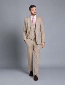 Men's Beige Herringbone Linen Tailored Fit Italian Suit - 1913 Collection