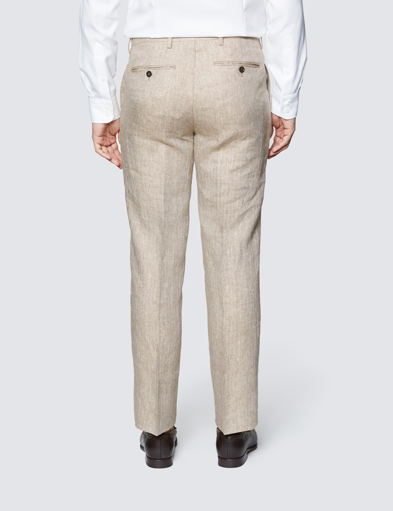 Men's Beige Herringbone Linen Tailored Fit Italian Suit - 1913 Collection