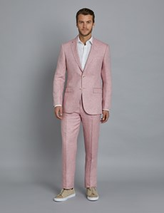 Men's Pink Herringbone Linen Tailored Fit Italian Suit Jacket - 1913 Collection