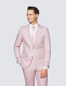 Men's Pink Herringbone Linen Tailored Fit Italian Suit Jacket - 1913 Collection