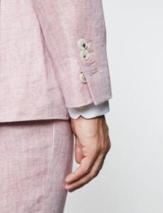 Men's Pink Herringbone Linen Tailored Fit Italian Suit - 1913 Collection