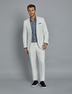 Men's White Herringbone Linen Tailored Fit Italian Suit Jacket - 1913 Collection