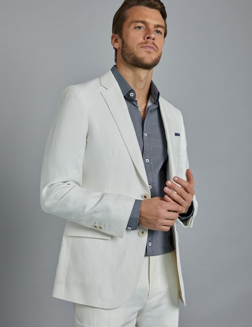 Mens White Herringbone Linen Tailored Fit Italian Suit 1913 Collection