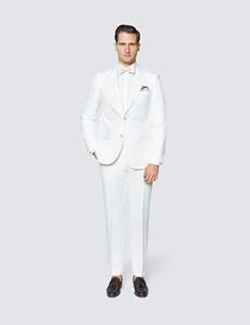 Men's White Herringbone Linen Tailored Fit Italian Suit Jacket - 1913 Collection