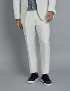 Men's White Herringbone Linen Tailored Fit Italian Suit - 1913 Collection