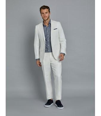 1913 Kollektion – Anzug aus edlem Leinen – Tailored Fit – Fischgrat weiß