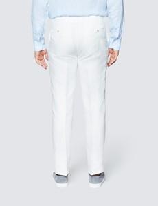 Men's White Herringbone Linen Tailored Fit Italian Suit - 1913 Collection