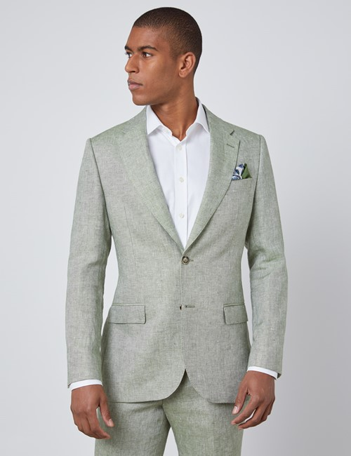 Men's Green Semi Plain Linen Tailored Fit Italian Suit Jacket - 1913 Collection