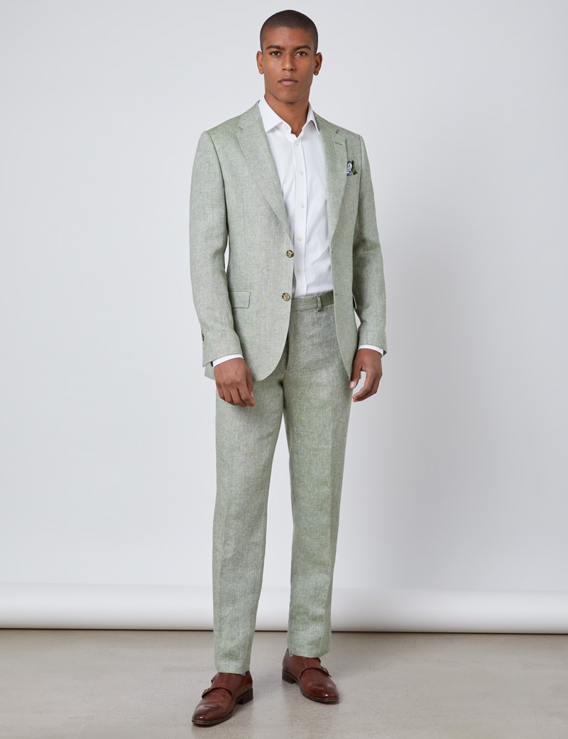 Men's Green Semi Plain Linen Tailored Fit Italian Suit - 1913 Collection