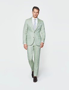 Men's Green Semi Plain Linen Tailored Fit Italian Suit - 1913 Collection