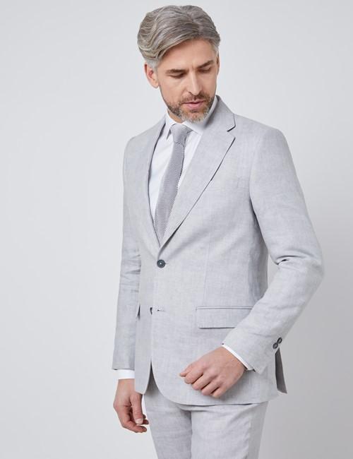 Men's Gray Semi Plain Linen Tailored Fit Italian Suit Jacket - 1913 Collection