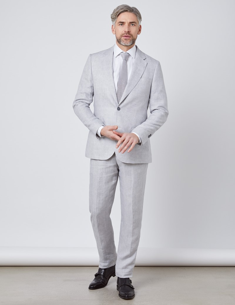 Men's Grey Semi Plain Linen Tailored Fit Italian Suit Jacket - 1913 Collection