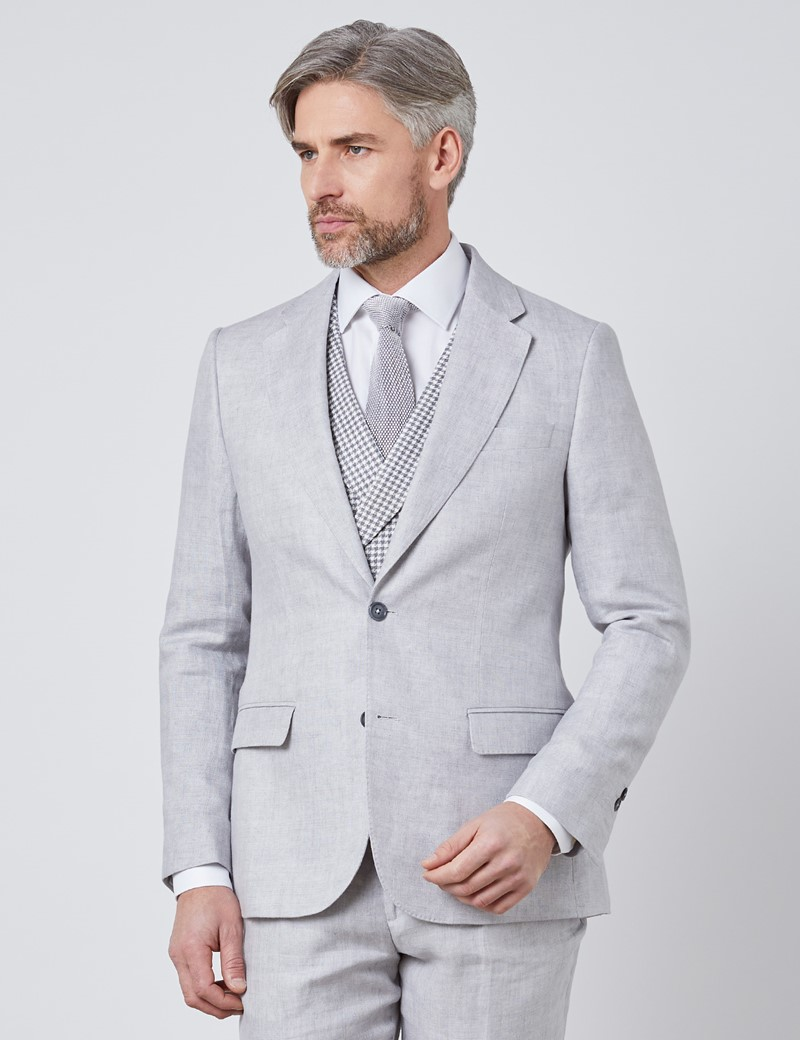 Men's Gray Semi Plain Linen Tailored Fit Italian Suit Jacket - 1913 Collection