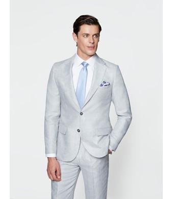 Men's Grey Linen Tailored Fit Italian Suit Jacket - 1913 Collection