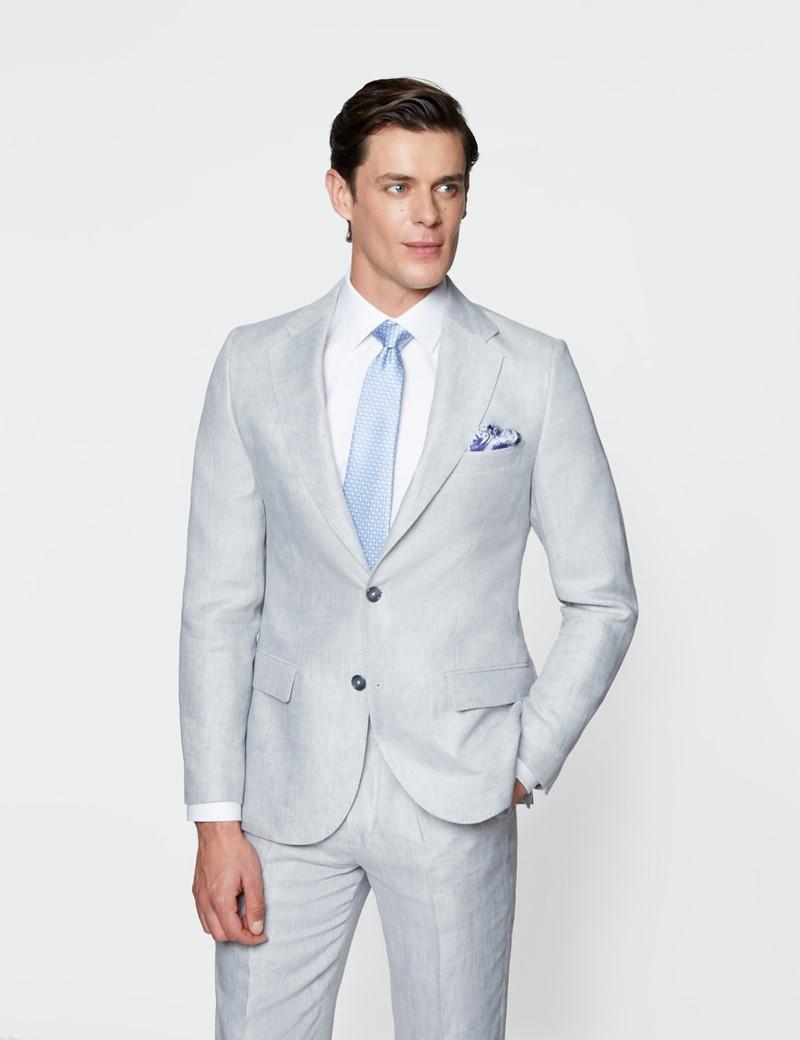 Men's Grey Semi Plain Linen Tailored Fit Italian Suit Jacket - 1913 Collection