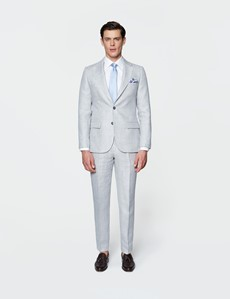 Men's Grey Linen Tailored Fit Italian Suit - 1913 Collection